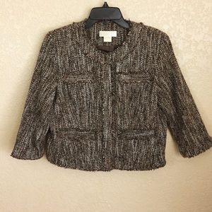 Michael Kors 12P Petite Brown Tweed Jacket F44